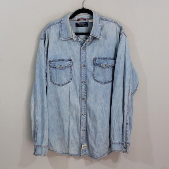 2afbb70e72 Levi s Other - Vintage Levis Snap Button Denim Jean Shirt Mens XL